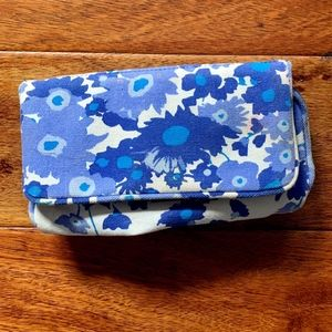 Blue Floral Makeup Bag with Mirror